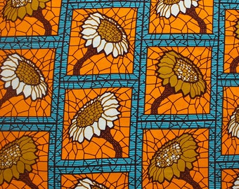 Orange African Print, Ankara Fabric, Sold by the yard, Modern Floral Print, African print fabric, Dressmaking, Orange Ankara, Floral Ankara