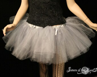 Silver iridescent adult tutu tulle skirt glimmer petticoat dance ballet wear club rave costume run - You choose size - Sisters of the Moon