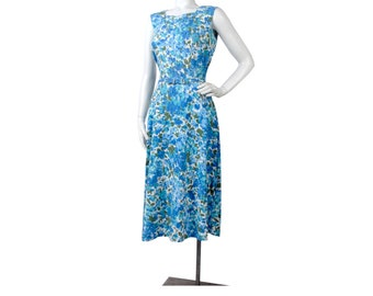 Vintage 50s Dress - 50s Party Dress - 50s Hourglass Dress - 50s Floral Dress - 50s Wiggle Dress - 50s Cotton Floral Dress - Rhinestones - S