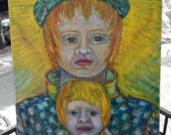 Mom with baby oil paints, canvas 50 x 40  Frame