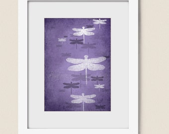 Dark Purple Dragonfly Wall Art for Girls Decor, Nature Inspired Home Decor, Bathroom Art Print 5 x 7 (153)