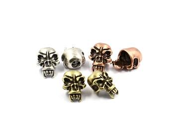 2Pcs Skull Beads for Paracord,GunBlack 24K Gold Silver Rose Gold,Halloween Skull,Gothic Skull Beads Charms,MixedColors,21*15m