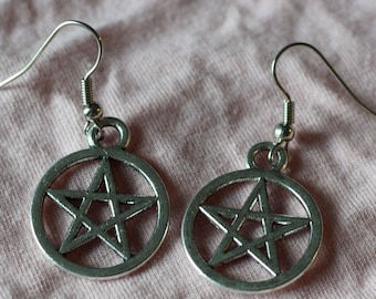 Pentagram earrings ~ Small Silver Pentacle charm jewelry