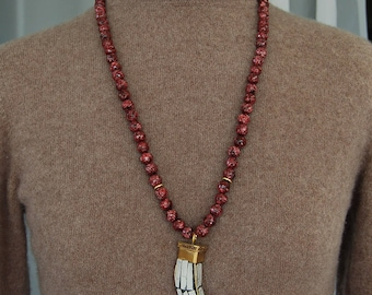 Tibetan Brass Horn Necklace with Faceted Maroon Jade Beads, Boho Necklace, Tibetan Pendant, Bohemian Style Horn Necklace