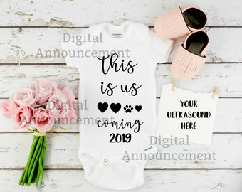 This is us / Girl Baby Reveal / Ultrasound Digital Announcement / pink girl gender reveal