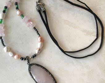 Multi gemstone cord necklace, rose quartz necklace, long necklace