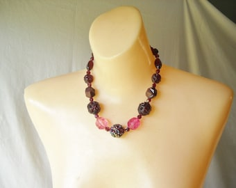 Vintage Necklace Beaded Necklace Pink Purple Carved Bead Necklace
