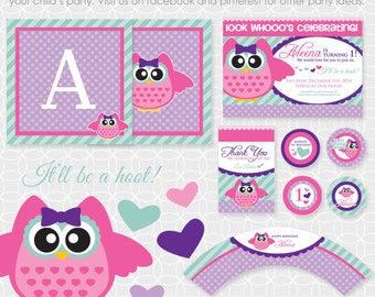 Party Printable Owl Theme Basic Package - Personalized Printable - owlette, purple, polkadot, teal