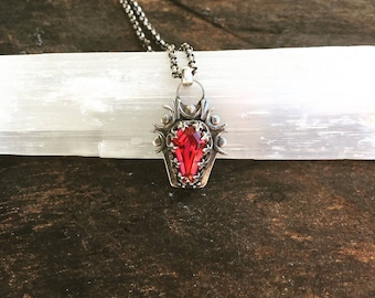 Ruby Red Coffin Necklace Sterling Silver Topaz Gemstone