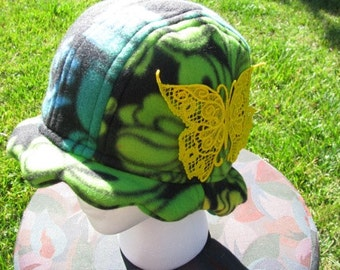Scalloped Edge Fleece Bucket Hat with Beautiful Yellow Lace Butterfly