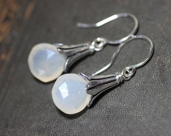 Moonstone Earrings Silver Petal Cap Rustic Jewelry White Moonstone Earrings