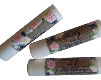 Set of 10 Personalized Lip Balm Party Favors Custom Wedding Rustic Watercolor flowers Floral Bridal Shower Birthday Chapstick Shabby Chic
