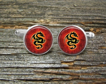 Dragons Ancient On Red Cufflinks -Wedding-Cufflink Box-Jewelry Box-Silver-Keepsake-Gift-Man gift-Graduation-Fathers Day-Men-History-Fantasy