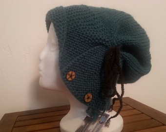 Gathered and Buttoned Slouchy Cloche in Teal
