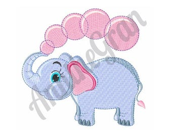 Elephant Bubbles - Machine Embroidery Design