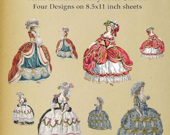Marie Antoinette 18th Century Paper Doll Cutout - Digital Download Image Scrapbooking Digital Stamp Paper Decor