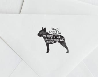Boston Terrier Return Address Stamp, Housewarming & Dog Lover Gift, Personalized Rubber Stamp, Wood Handle