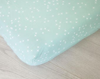 Organic Changing Pad Cover | Mint and White Plus Signs