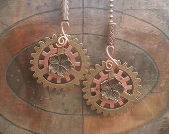 "Fan Pull 50mm (2"") Cog Assemblage Settings Icon Steampunk Gear Bronzetone Ball Chain Ceiling Fan Pull Complementary Pair of 2"