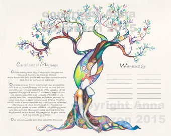 Love Tree  Quaker Certificate, Wedding Vows, Marriage Certificate, Quaker Wedding, Tree of Life, wedding gift for bride from maid of honor