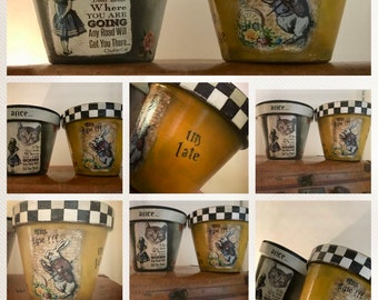 Alice in wonderland 'rabbit'  handpainted and decoupaged plant pot