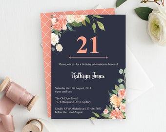 Floral 21st Birthday Invitation, Printable Invitation, Adult Birthday Invitation, 30th Birthday Invitation, Floral Birthday Party Invitation