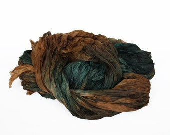 green silk scarf - Forest Song -  brown, green silk scarf.