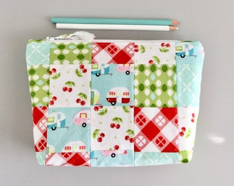 Colorful Country Picnic Makeup Bag Pencil Pouch Camping Zipper Pouch Supply Bag Toiletry Bag