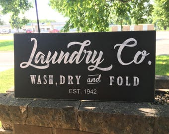 "Laundry Co. Established Sign - Laundry Room Sign Joanna Gaines Style Farmhouse Decor Sign Rustic Hand Painted Sign, Dawnspainting 24"" x 12"""