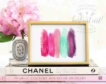 Abstract art PRINTABLE art instant download, Brush stroke art,Glam decor,hot pink,purple,abstract print,abstract,Glam prints,INSTANT