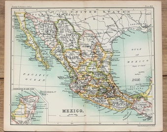 mexico antique map c1900 small folding colour map by bartholomew