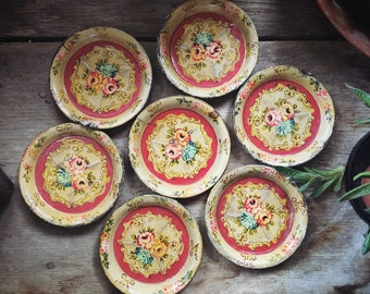 Shabby Decor Vintage Coasters Distressed Found Objects Use as Mini Succulent Planter Plates