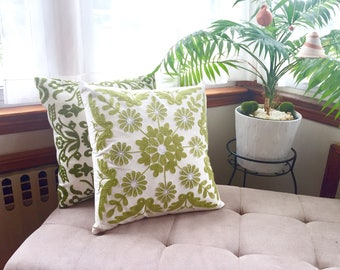 "Green Embroidery Floral cover pillow, home accent, Sofa Pillow Case Throw, Pillow Cover for 18X18"" Inserts Copy"