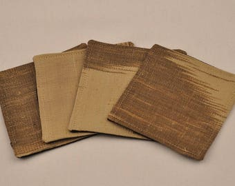 Free Shipping Eco 4 Silk Coasters Brown Beige Upcycled Recycled Fabrics Square OOAK