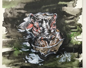 "Happy the Hippo, 9""x12"" original watercolor ink painting"