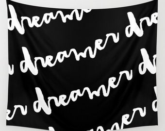 Dreamer Black and White Tapestry, Large Wall Art, Wall Hanging, Dorm Tapestry, Teen Room Decor, Kids Wall Art, Kids Decor, Inspirational