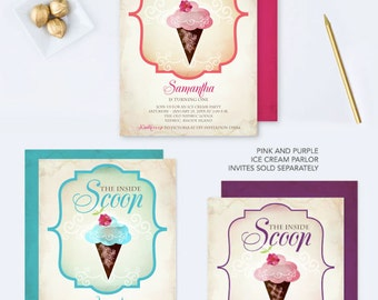 Ice Cream Parlor Invite, Girl Birthday Party Invitation, Editable PDF Invite Template, Invitation That Can Be Edited, Ice Cream Cone Vintage