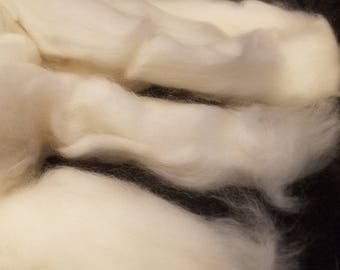 CRAZY Cashmere 100 percent White Roving Combed Top  spinning fiber fibre 1 oz