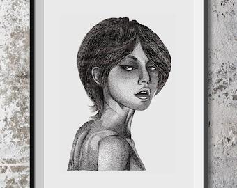 Black and White Girl Print