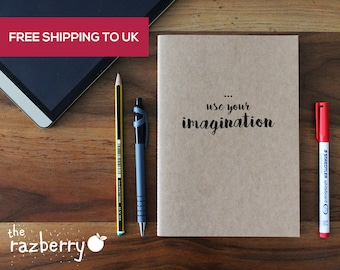 Use your imagination A5 Kraft Notebook Notepad Sketchbook Artbook Doodle School Book Blank Paper Stationery Craft Book College Book Quote