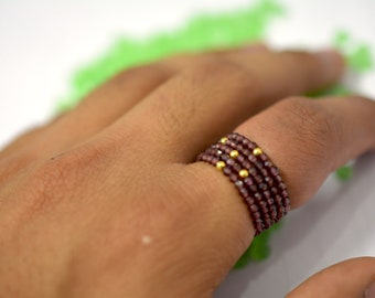 2 ring set natural garnet and golden ball ring
