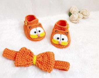 Crochet Baby Garfield shoes and headband set  - Baby headband - Crochet shoes - Baby Shoes - Baby girl set - Baby girl shoes- photo shoot
