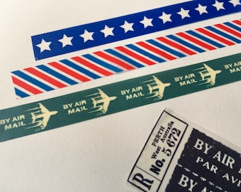 Air Mail Washi Tape Sample Set, Vintage-Inspired, for Travel Journal, Snail Mail, Happy Mail, Mail Art, Stationery