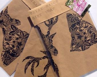 Gift wrap, hand printed gift wrap, Hand printed paper, Christmas gift wrap, Christmas paper, stag gift wrap, stag paper, luxury gift wrap