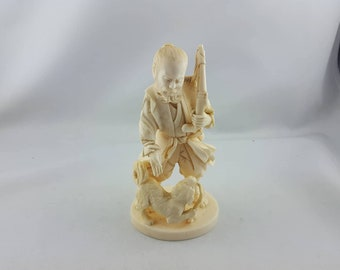 Very Rare Amazing Authentic Antique Japanese Ivory Statue with Seal in Mother Pearl
