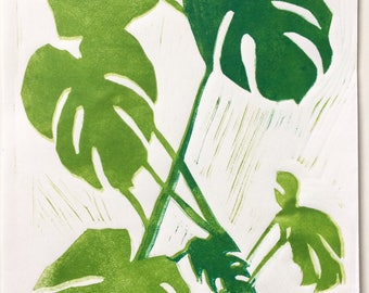 Cheese plant art print - green palms