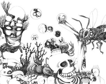 Illustration-Psychedelic landscape with skull and insects/ print on heavy paper