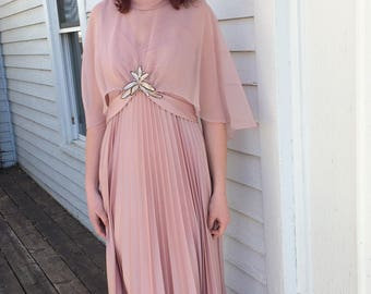 Romantic 70s Dress Vintage Gown Sheer Cape Pleated Maxi Pink M