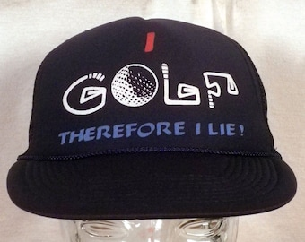 vtg 80s mesh/foam I Golf Therefore I Lie Snapback Trucker Hat Cap indie