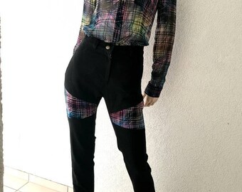 Jeans cut Black diamonds on the thigh Sofya FDX